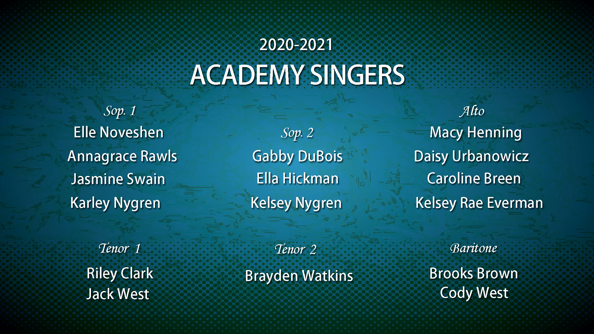 Academy Singers 2020-2021